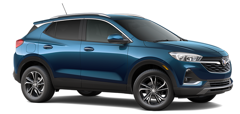 2021 buick encore gx in Deep Azure color, 3/4 passenger side front view