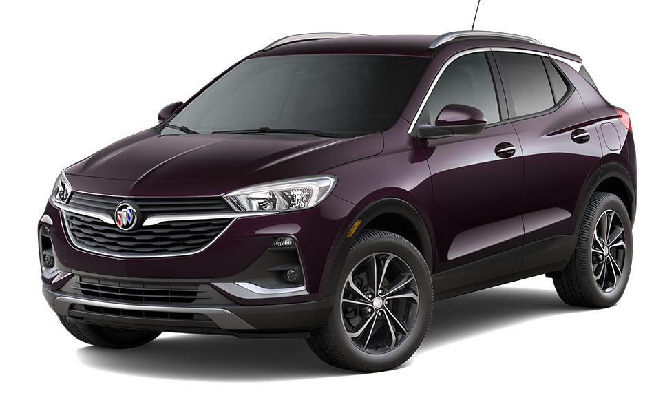 2021 Buick Encore GX SUV in Black Currant Metallic Exterior Color, shown from 3/4 drivers side front