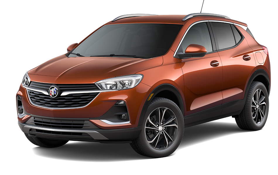 2021 Buick Encore GX SUV in Burnished Bronze Metallic Exterior Color, shown from 3/4 drivers side front