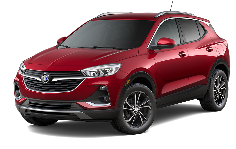 2021 Buick Encore GX SUV in Chilli Red Metallic Exterior Color, shown from 3/4 drivers side front