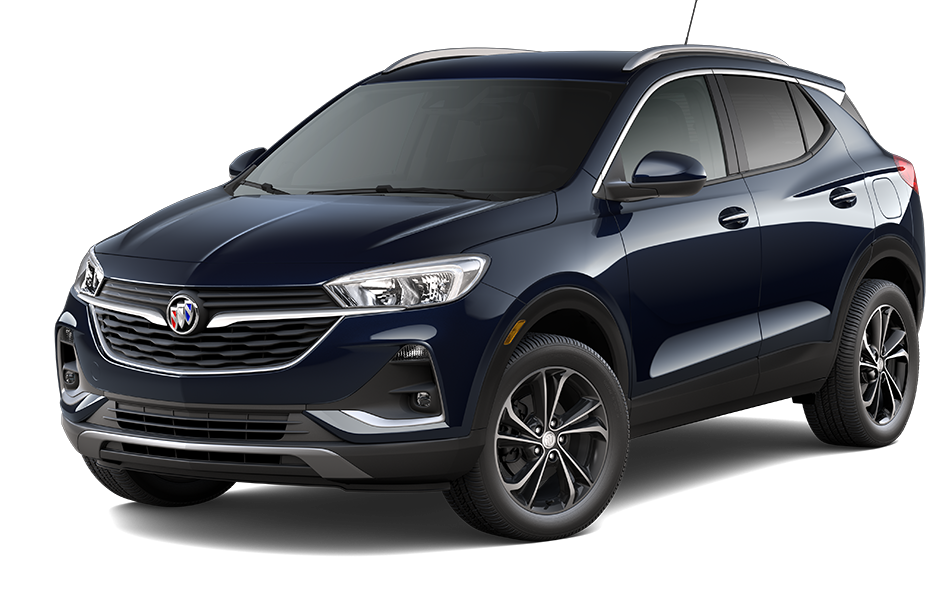 2021 Buick Encore GX SUV in Dark Moon Blue Metallic Exterior Color, shown from 3/4 drivers side front