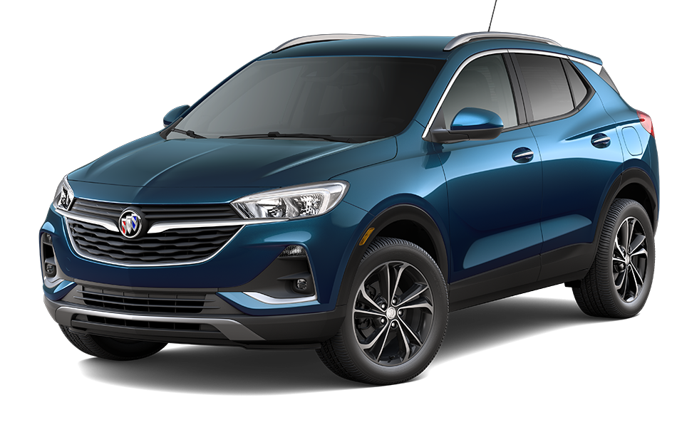 2021 Buick Encore GX SUV in Deep Azure Metallic Exterior Color, shown from 3/4 drivers side front