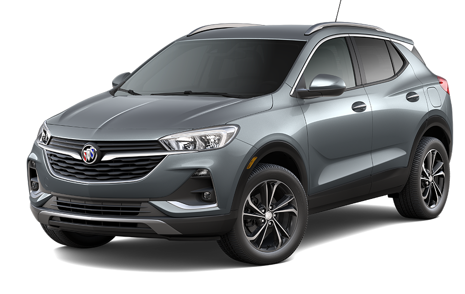 2021 Buick Encore GX SUV in Satin Steel Gray Metallic Exterior Color, shown from 3/4 drivers side front