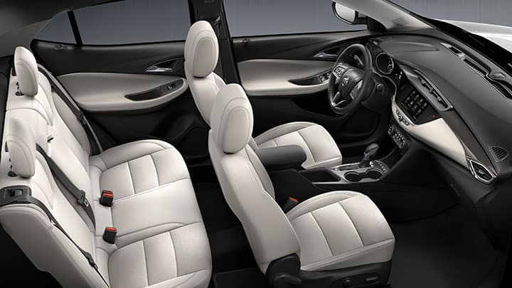 2021 Encore GX Essence (1SL) interior shown in Whisper Beige with available features. CGI asset