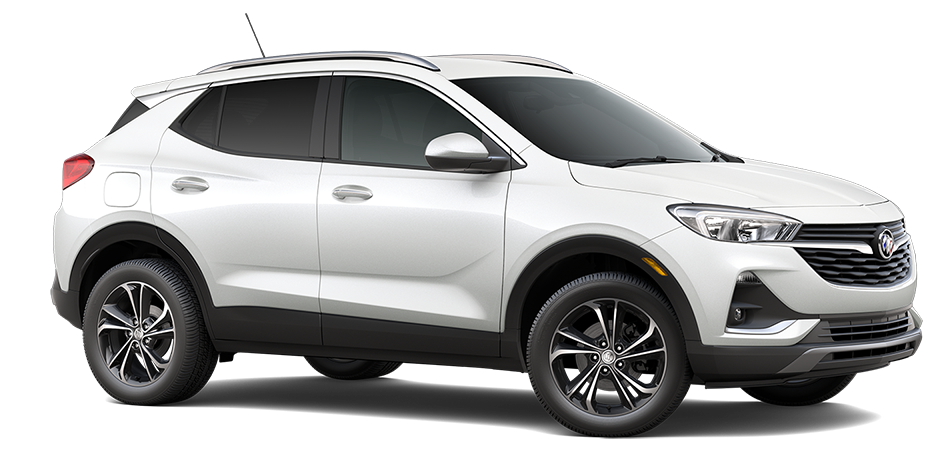 2021 Buick Encore Preferred FWD, 3/4 Passengers side Front view in Summit White