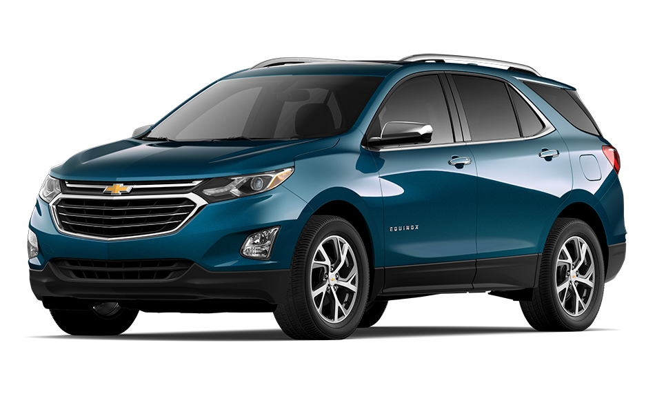 2021 Chevy Equinox SUV in Deep Azure Metallic Exterior Color, shown from 3/4 drivers side front