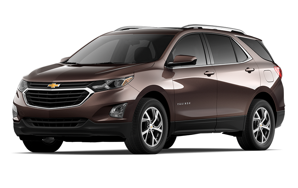 2021 Chevy Equinox SUV in Chocolate Metallic Exterior Color, shown from 3/4 drivers side front