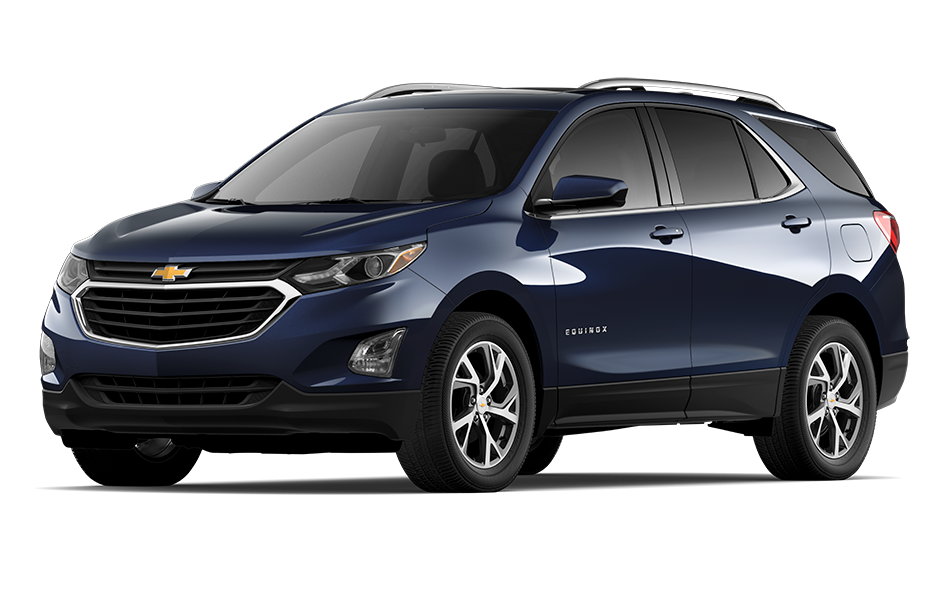 2021 Chevy Equinox SUV in Dark Moon Blue Metallic Exterior Color, shown from 3/4 drivers side front