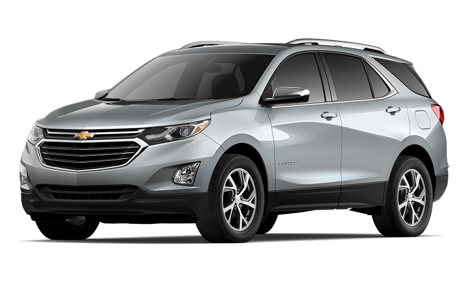 2021 Chevy Equinox SUV in Satin Steel Gray Metallic Exterior Color, shown from 3/4 drivers side front