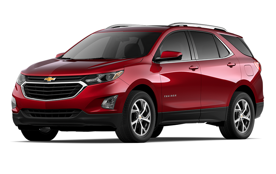 2021 Chevy Equinox SUV in Chili Red Metallic Exterior Color, shown from 3/4 drivers side front
