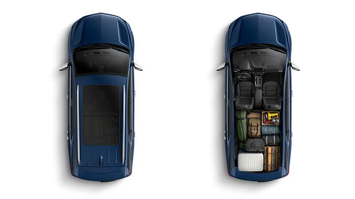 Chevrolet Equinox cutaway from above, showing cargo space.