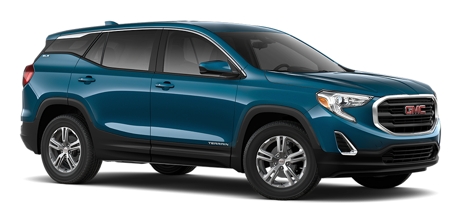 2021 GMC Terrain Deep Azure Metallic 3/4 passenger side front view