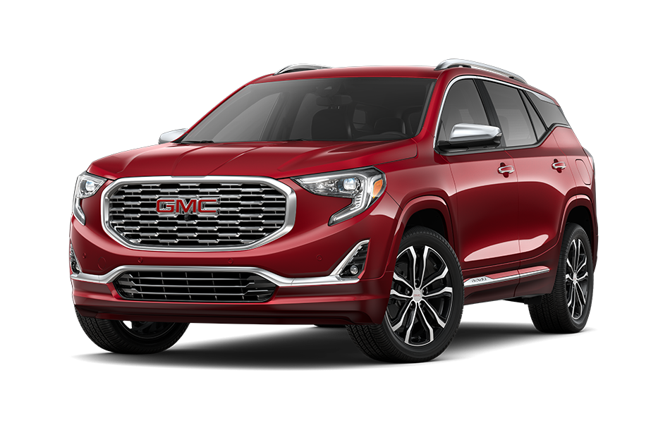 2021 GMC Terrain SUV in Chili Red Metallic Exterior Color, shown from 3/4 drivers side front