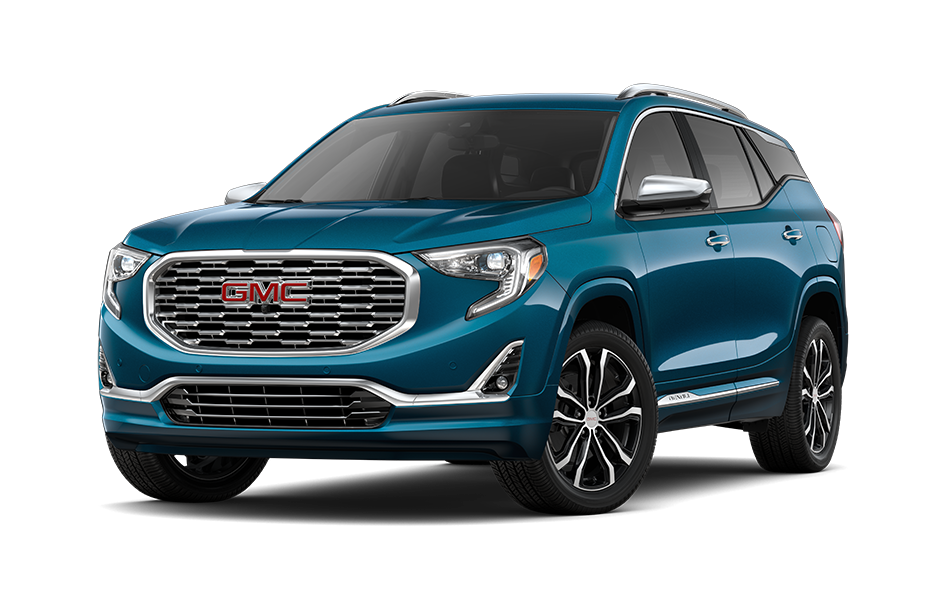 2021 GMC Terrain SUV in Deep Azure Metallic Exterior Color, shown from 3/4 drivers side front
