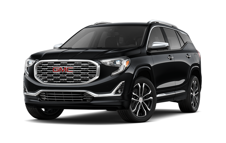 2021 GMC Terrain SUV in Black Currant Metallic Exterior Color, shown from 3/4 drivers side front