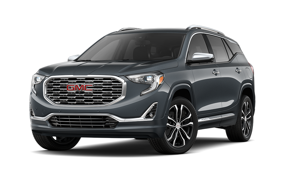 2021 GMC Terrain SUV in Satin Steel Gray Metallic Exterior Color, shown from 3/4 drivers side front