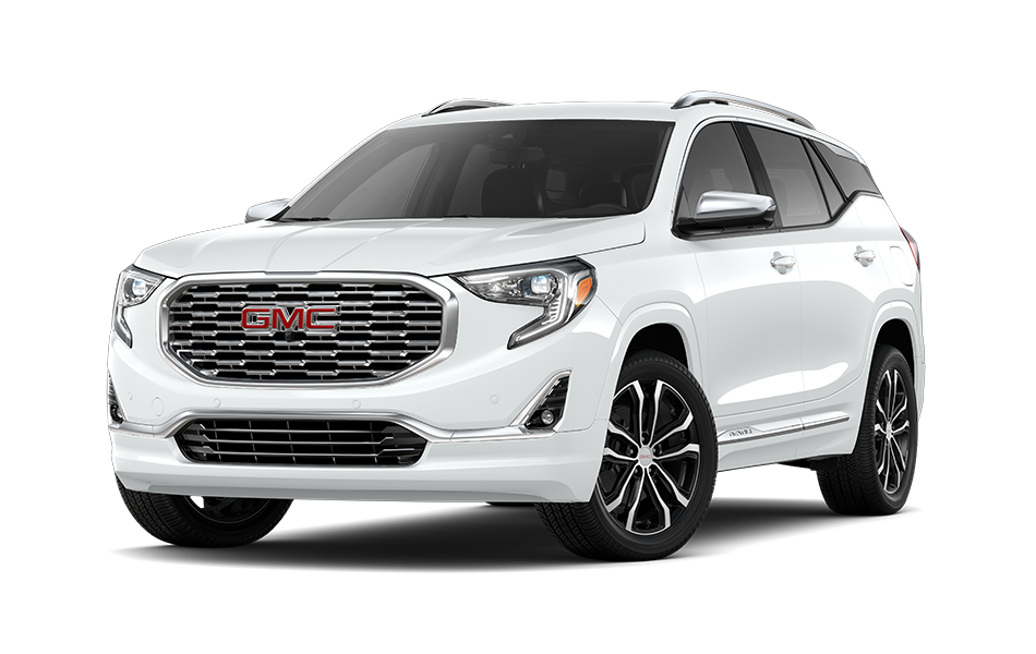 2021 GMC Terrain SUV in Dark Moon Blue Metallic Exterior Color, shown from 3/4 drivers side front