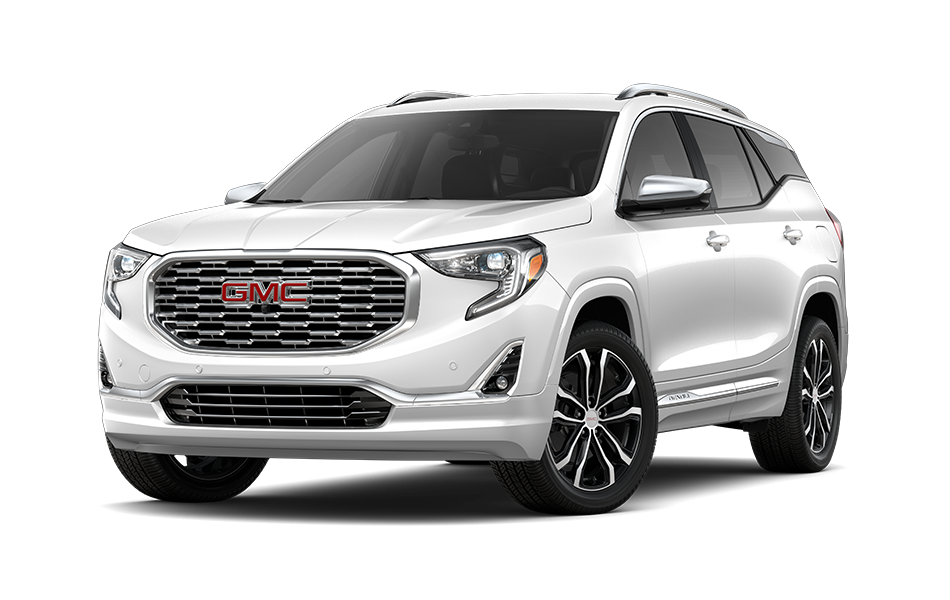 2021 GMC Terrain SUV in White Frost Tricoat Exterior Color, shown from 3/4 drivers side front