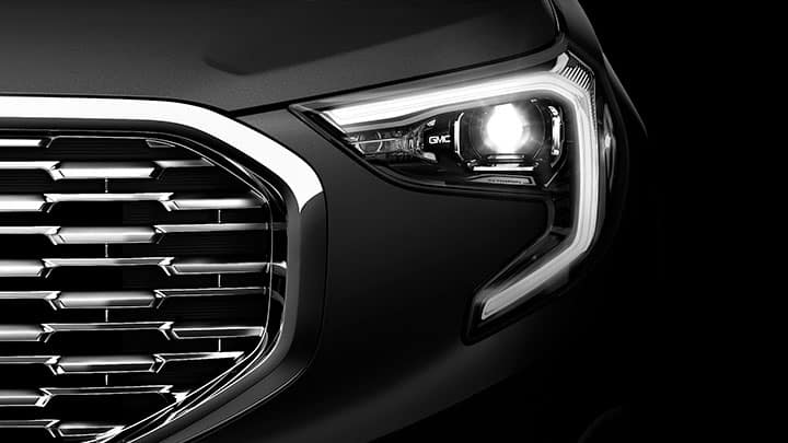 2021 GMC Terrain Denali Grille / Grill and LED Headlamp with C-Shaped Lighting; Direct Front; Black/White