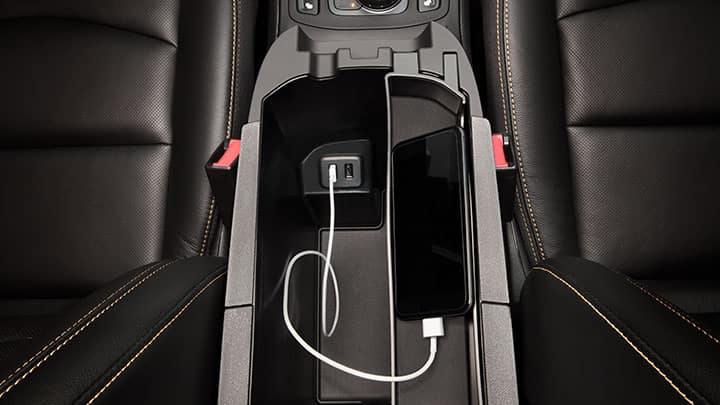 2021 GMC Terrain SLT Front Center Storage Bin / Console Featuring USB Data Ports with Smartphone Connected