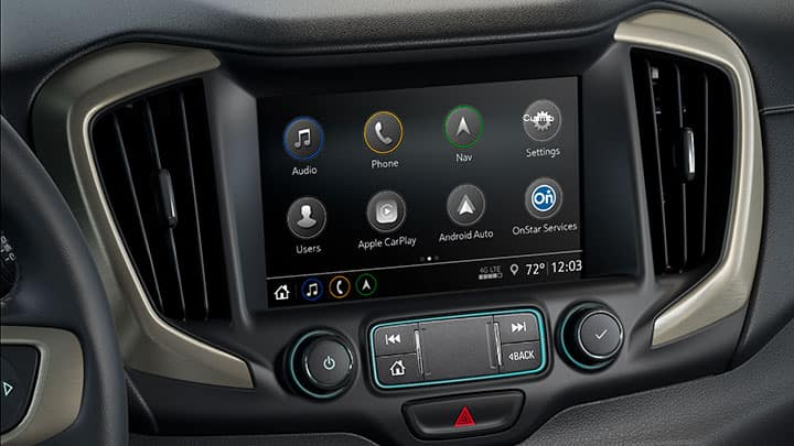 2021 GMC Terrain Denali 8-Inch Color Touch-Screen Audio System; Showing close-up of Infotainment Home Screen