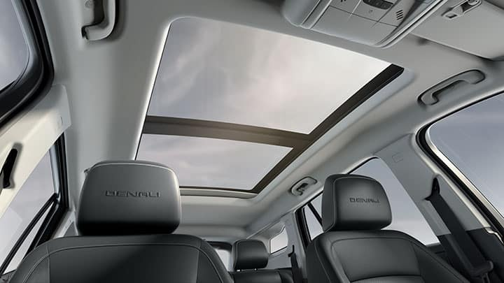 2021 GMC Terrain Denali Available Power Sunroof; Open; Interior Vew; Jet Black/Jet Black Perforated Leather-Appointed Seating.
