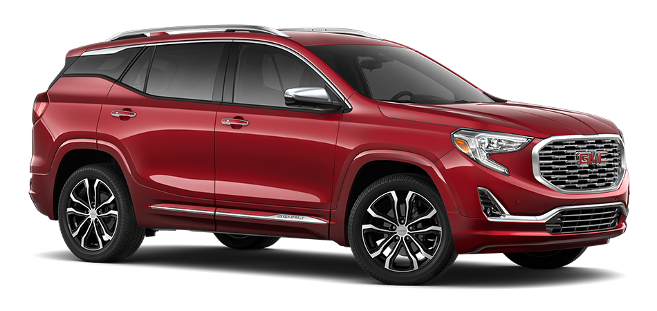 2021 GMC Terrain Chili Red Metallic 3/4 passenger side front view