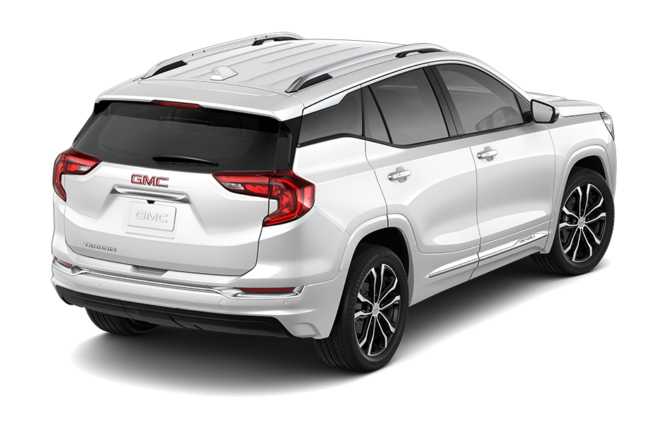 2021 GMC Terrain SUV in White Frost Tricoat Exterior Color, shown from 3/4 passenger side rear