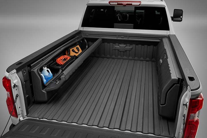 Chevy Silverado 1500 Bed Side-Mounted Bed Storage Box in Black with Codeable Key Accessory