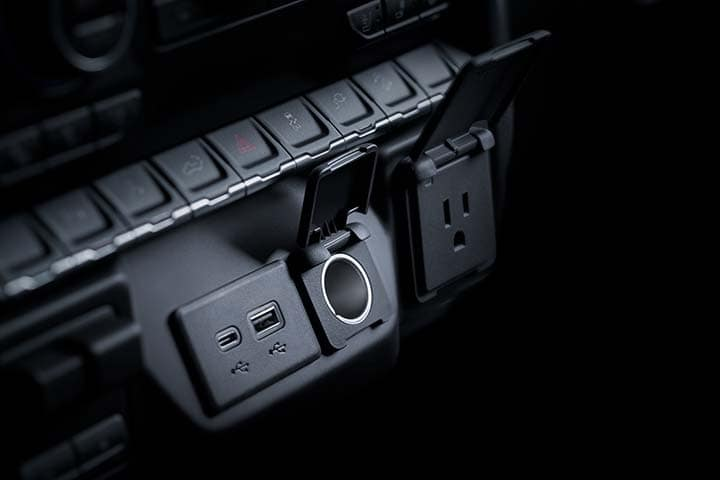 2021 Chevy Silverado interior USB, micro-USB and 120V charging ports.