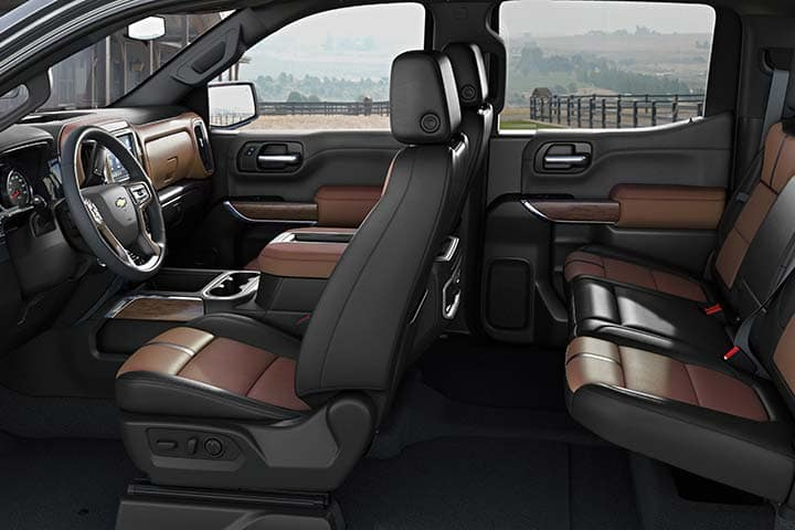 Chevy Silverado Jet Black/Umber interior color, Perforated leather-appointed seat trim.