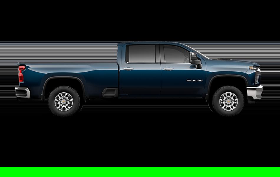 2021 Chevy Silverado in NorthSky Blue Metallic side view passenger