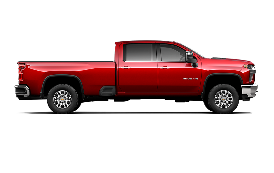 2021 Chevy Silverado in Red Hot color side view passenger