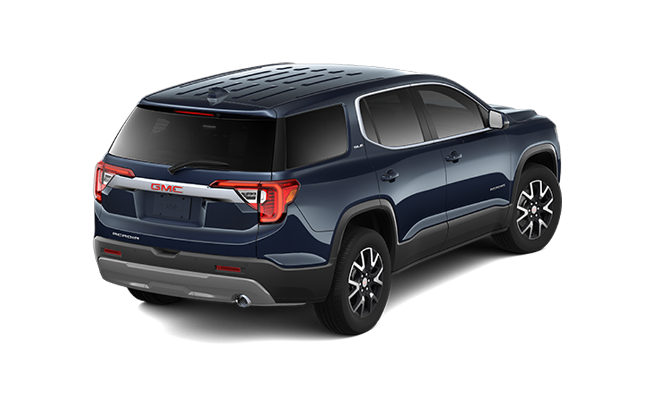 2021 GMC Acadia in Midnight Blue Metallic color rear 3/4 passenger side view