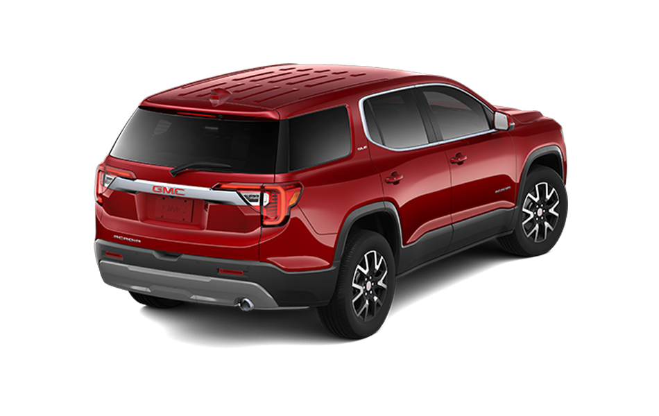 2021 GMC Acadia in Cayenne Red Tintcoat color 3/4 rear passenger view