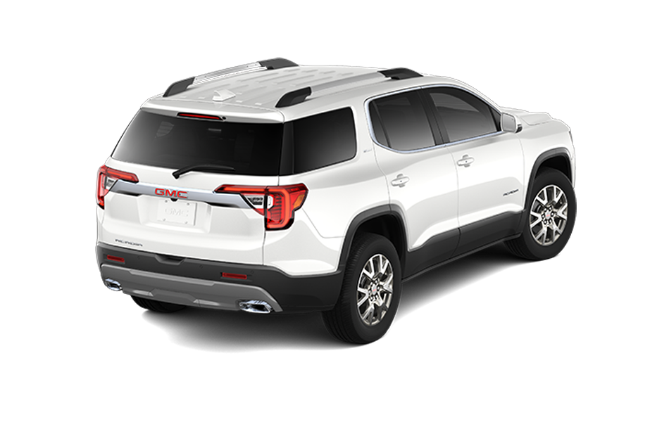 2021 GMC Acadia in Frost White color 3/4 rear passenger side view