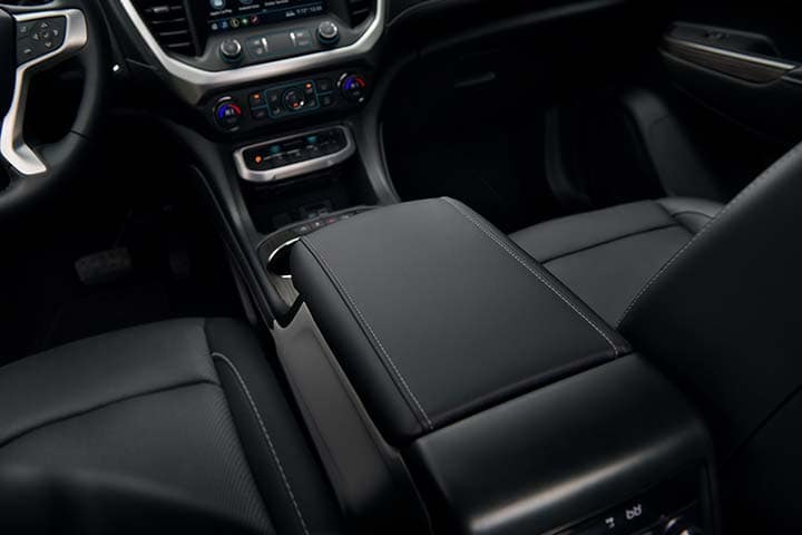 2021 GMC Acadia SLT Front Center Console Storage; Jet Black/Jet Black Leather-Appointed Seating