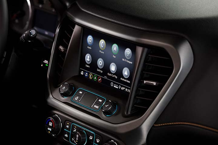 "2021 GMC Acadia AT4 AWD Interior Detail Featuring 8"" Diagonal GMC Infotainment System; Kalahari (119X)/Jet Black (600R) Leather-Appointed Interior"