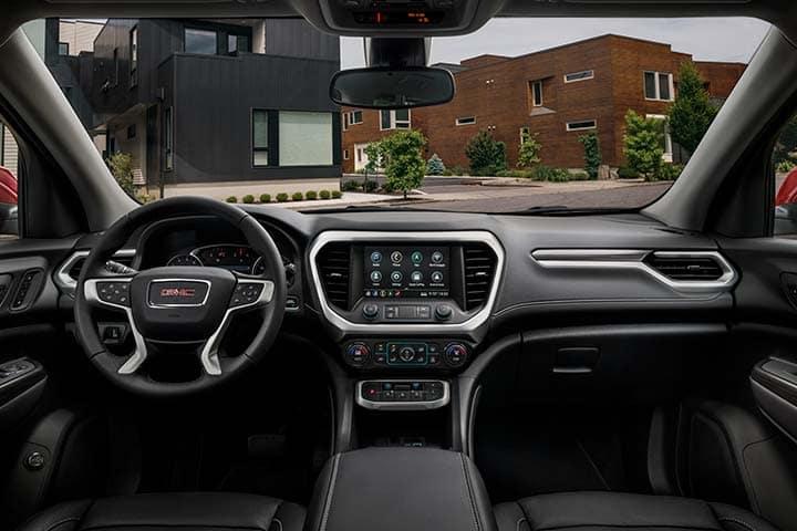 2021 GMC Acadia SLT Interior Cockpit with Jet Black/Jet Black Leather-Appointed Seating