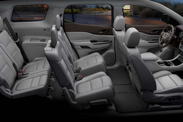 2021 GMC Acadia SLT Full Interior Showing Six Passenger Seating Configuration; Cocoa/Light Ash Gray Perforated Leather-Appointed Seating; Passengers side View