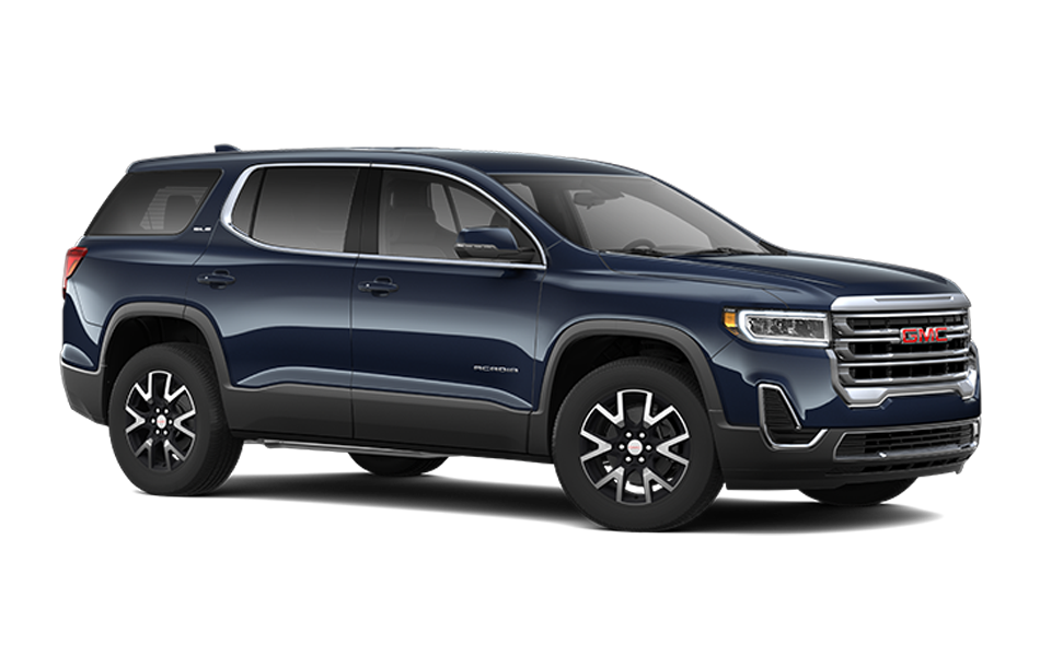2021 GMC Acadia in Midnight Blue Metallic color front 3/4 passenger side view