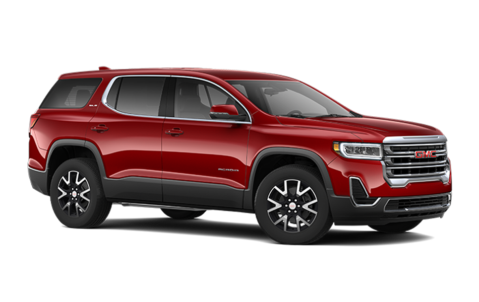 2021 GMC Acadia in Cayenne Red Tintcoat color front 3/4 passenger view