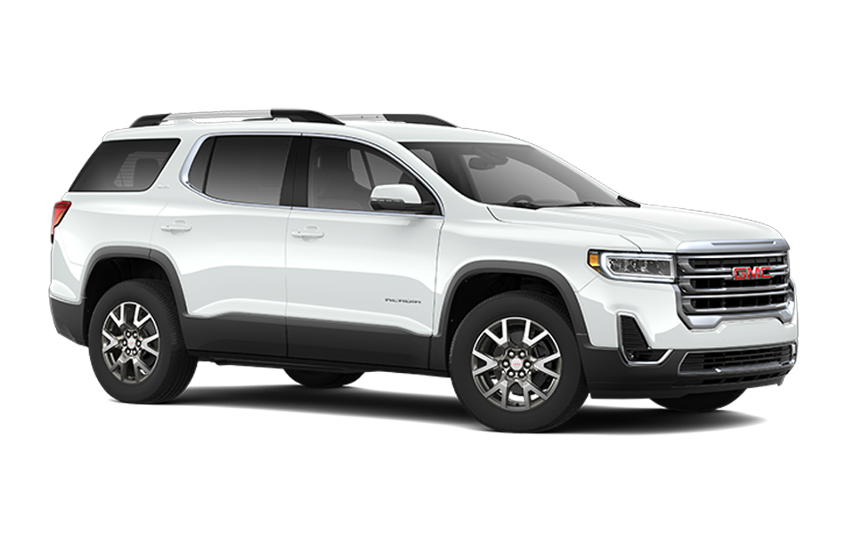 2021 GMC Acadia in Frost White color 3/4 front passenger side view