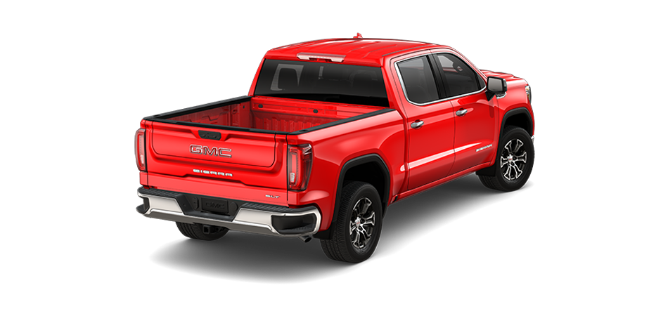 2021 GMC Sierra in Cardinal Red 3/4 view from rear passenger side