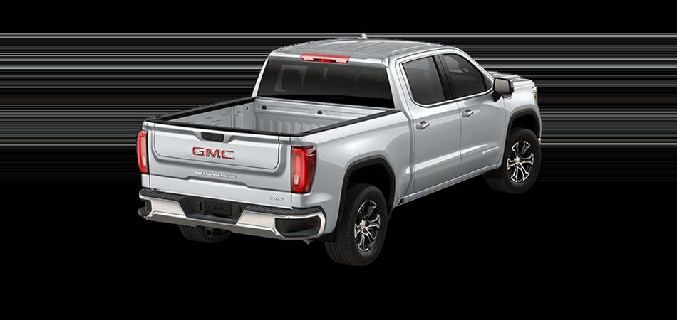 2021 GMC Sierra in Quicksilver Metallic 3/4 view from rear passenger side