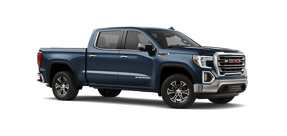 2021 GMC Sierra in Pacific Blue Metallic 3/4 view from passenger side