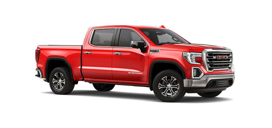2021 GMC Sierra in Cardinal Red 3/4 view from passenger side