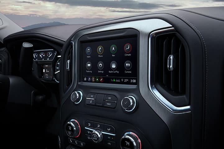 2021 GMC Sierra Denali 1500 Interior in Jet Black; Center Stack with GMC Infotainment System and HVAC Controls