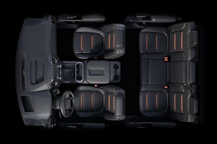 2021 GMC Sierra 1500 AT4 Crew Cab with (CWM) Technology Package; Full Interior with Jet Black Perforated Leather-Appointed Seating with Kalahari Accents