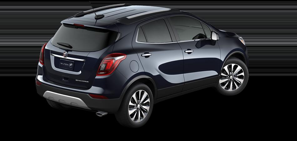 2021 Buick Encore Preferred FWD, 3/4 Passengers side rear view in Dark Moon Blue Metallic